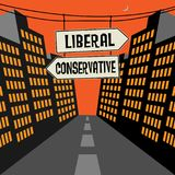 Οδικό σημάδι με τα αντίθετα βέλη και κείμενο φιλελεύθερο - συντηρητικός απεικόνιση αποθεμάτων