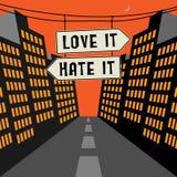 Οδικό σημάδι με τα αντίθετα βέλη και την αγάπη κειμένων αυτό - μίσος αυτό ελεύθερη απεικόνιση δικαιώματος