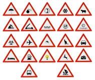 Οδικό σημάδι προσοχής τριγώνων μερών κόκκινο Στοκ Εικόνες