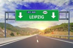 Οδικό σημάδι της Λειψίας στην εθνική οδό Στοκ φωτογραφία με δικαίωμα ελεύθερης χρήσης
