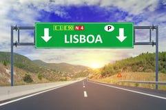 Οδικό σημάδι της Λισσαβώνας στην εθνική οδό Στοκ φωτογραφία με δικαίωμα ελεύθερης χρήσης