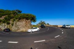 Οδικό Hairpin στροφή των βουνών της βόρεια περιοχής Tenerife στοκ φωτογραφίες