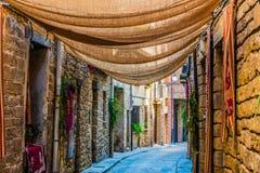 Οδοί που προστατεύονται από τον ήλιο στην πόλη Olite Ναβάρρα Ισπανία στοκ εικόνα με δικαίωμα ελεύθερης χρήσης