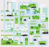 Οδοί πόλεων με τους πεζούς και το αυτοκίνητο στοκ φωτογραφίες