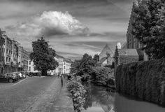 Οδοί της Μπρυζ Βέλγων μαύρο λευκό στοκ φωτογραφία με δικαίωμα ελεύθερης χρήσης