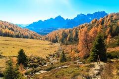 Οδοιπορία φθινοπώρου στην αλπική κοιλάδα Pusteria στοκ φωτογραφία με δικαίωμα ελεύθερης χρήσης