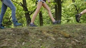 Οδοιπόροι που περπατούν στη δασική άκρη - κινηματογράφηση σε πρώτο πλάνο στα πόδια των εφήβων και της γυναίκας φιλμ μικρού μήκους