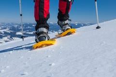 Οδοιπόρων στα χειμερινά βουνά κατά τη διάρκεια της ηλιόλουστης ημέρας Στοκ φωτογραφίες με δικαίωμα ελεύθερης χρήσης