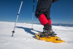 Οδοιπόρων στα χειμερινά βουνά κατά τη διάρκεια της ηλιόλουστης ημέρας Στοκ Εικόνα