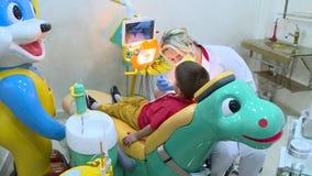 Οδοντίατρος καστόρων που κρατά μια οδοντόβουρτσα απόθεμα βίντεο