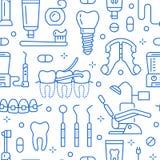 Οδοντίατρος, orthodontics μπλε άνευ ραφής σχέδιο με τα εικονίδια γραμμών Οδοντική προσοχή, ιατρικός εξοπλισμός, στηρίγματα, πρόσθ ελεύθερη απεικόνιση δικαιώματος