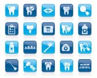 Οδοντικά εικονίδια εργαλείων ιατρικής και οδοντιατρικής Στοκ Φωτογραφία