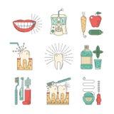 Οδοντικά εικονογράμματα υγιεινής συλλογής Στοκ Φωτογραφίες