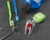Οδοντικά όργανα και καθορισμένος για τον καθαρισμό δοντιών Στοκ Εικόνα