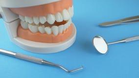 Οδοντικά όργανα στο μπλε υπόβαθρο απόθεμα βίντεο