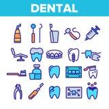 Οδοντικές υπηρεσίες, γραμμικά διανυσματικά εικονίδια στοματολογίας καθορισμένα ελεύθερη απεικόνιση δικαιώματος