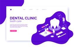 Οδοντική επιγραφή ιστοχώρου κλινικών, έμβλημα, πρότυπο ιπτάμενων στο isometric επίπεδο ύφος με το δόντι, βούρτσα, οδοντόπαστα ελεύθερη απεικόνιση δικαιώματος