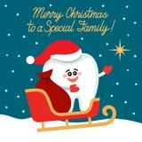 Οδοντική ευχετήρια κάρτα Δόντι στα σημεία ελκήθρων Santa στο αστέρι διανυσματική απεικόνιση