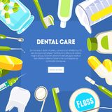Οδοντικό πρότυπο εμβλημάτων προσοχής, εργαλεία οδοντιάτρων και εξοπλισμός, οδοντική υπηρεσία κλινικών, κινητός ιστοχώρος, σχέδιο  ελεύθερη απεικόνιση δικαιώματος