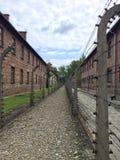 Οδοντωτός - φράκτης καλωδίων στο στρατόπεδο συγκέντρωσης Auschwitz στοκ φωτογραφία