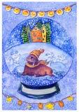 Οδόβαινος σε ένα καπέλο και μαντίλι στο χειμερινό υπόβαθρο σε μια σφαίρα χιονιού ελεύθερη απεικόνιση δικαιώματος