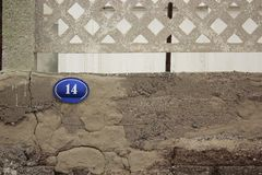 Οδός αριθμός 14 σε έναν παλαιό τοίχο Στοκ εικόνα με δικαίωμα ελεύθερης χρήσης