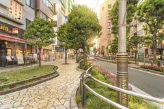 Οδός ηλιοφάνειας στην ανατολική έξοδο Ikebukuro στο Τόκιο Οι καμπύλες πεζοδρομίων που υπογραμμίζονται από τους φραγμούς που ενσωμ στοκ εικόνα με δικαίωμα ελεύθερης χρήσης