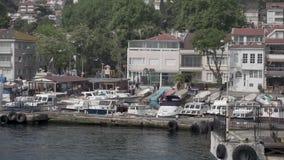 Οδός λιμένων Στην αποβάθρα πολλά μικρά σκάφη, που πετούν πολλά seagulls Είναι τακτοποιημένος περίπατος σπίτια και άνθρωποι φιλμ μικρού μήκους