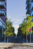 Οδός με τα σύγχρονα κτήρια και τα δέντρα στο Δουβλίνο Docklands α Στοκ φωτογραφία με δικαίωμα ελεύθερης χρήσης