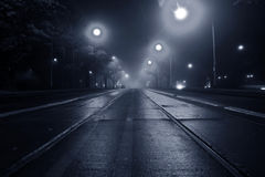 οδός νύχτας ομίχλης Στοκ εικόνα με δικαίωμα ελεύθερης χρήσης