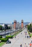 Οδός που οδηγεί στους ενετικούς πύργους Βαρκελώνη Ισπανία Στοκ Εικόνα