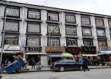 Οδός σε Lhasa, Θιβέτ Στοκ Εικόνες