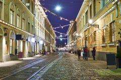 Οδός στην παλαιά πόλη, Ελσίνκι, Φινλανδία στοκ εικόνες