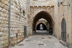 Οδός στην παλαιά πόλη της Ιερουσαλήμ Στοκ Φωτογραφία