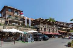 Οδός στην παλαιά πόλη Nessebar, περιοχή Burgas, της Βουλγαρίας Στοκ Εικόνες