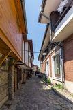 Οδός στην παλαιά πόλη Nessebar, περιοχή Burgas, της Βουλγαρίας Στοκ Φωτογραφίες