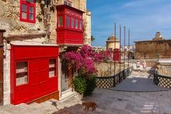 Οδός στην παλαιά πόλη Valletta, Μάλτα Στοκ Εικόνα