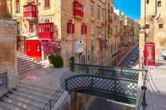 Οδός στην παλαιά πόλη Valletta, Μάλτα Στοκ φωτογραφίες με δικαίωμα ελεύθερης χρήσης