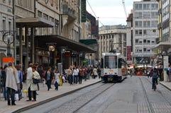 Οδός της Γενεύης με το τραμ στοκ εικόνα με δικαίωμα ελεύθερης χρήσης