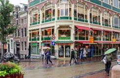 Οδός του Άμστερνταμ σε μια βροχερή ημέρα Κινηματογράφηση σε πρώτο πλάνο στοκ φωτογραφίες