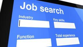 Οθόνη εισόδων αναζήτησης εργασίας Στοκ Εικόνες
