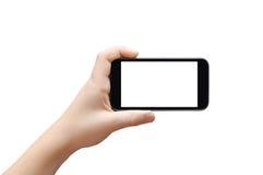 οθόνη επαφής smartphone εκμετάλλευσης στοκ εικόνα με δικαίωμα ελεύθερης χρήσης