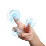 οθόνη διαπροσωπειών χεριών σχετικά με Στοκ Εικόνα