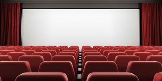 Οθόνη κινηματογράφων με τα κόκκινα καθίσματα και την ανοικτή κουρτίνα τρισδιάστατος Στοκ εικόνες με δικαίωμα ελεύθερης χρήσης
