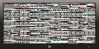 Οθόνη με μια δυσλειτουργία για το υπόβαθρο και το έμβλημα Στοκ Εικόνες