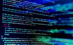 Οθόνη με τον κώδικα προγραμματιστή λογισμικού Φω'τα θαμπάδων Στοκ Φωτογραφίες