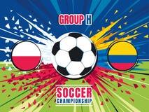 Οθόνη παφλασμών αντιστοιχιών παγκόσμιου πρωταθλήματος ποδοσφαίρου Πολωνία εναντίον της Κολομβίας Realistic Football ομάδας Χ περι Στοκ Φωτογραφία