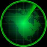 Οθόνη ραντάρ με μια σκιαγραφία της Βόρειας Αμερικής Στοκ φωτογραφίες με δικαίωμα ελεύθερης χρήσης