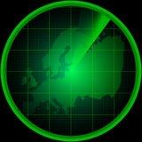 Οθόνη ραντάρ με μια σκιαγραφία της Ευρώπης Στοκ φωτογραφία με δικαίωμα ελεύθερης χρήσης