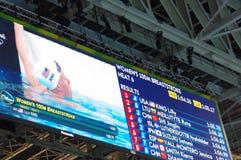 Οθόνη στις θερμότητες κολύμβησης Rio2016 που παρουσιάζουν βασιλιά της Lilly Στοκ Εικόνες